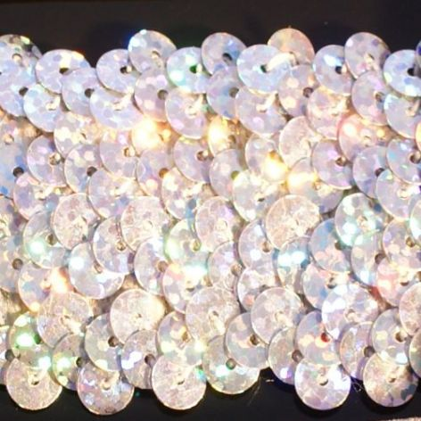 CLEARANCE 38mm Hologram Silver Stretch Sequin Braid. WAs £4.85